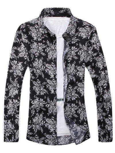 Ditsy Floral Pattern Leisure Long Sleeve Shirt - Black S