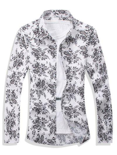 Ditsy Floral Pattern Leisure Long Sleeve Shirt - White Xs