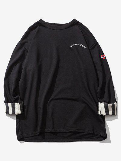 Streifen Gerollte Ärmel Hängender Schulter Sweatshirt - Schwarz Xl
