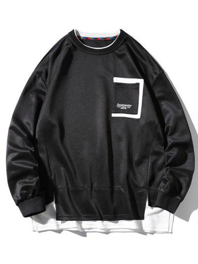 Drop Shoulder Pocket Side Slit Sweatshirt - Black 3xl