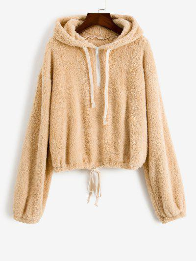Plush Drop Shoulder Half Zip Hoodie - Light Coffee M