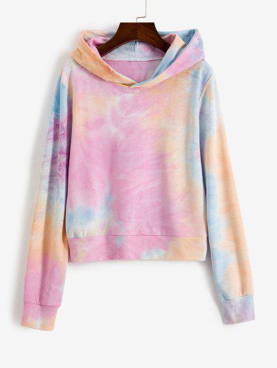 Tie Dye Loose Pullover Hoodie - Multi S