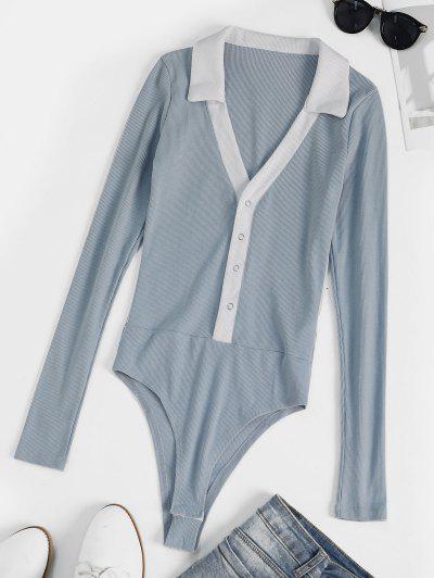 Body Combinaison Côtelé Bicolore - Bleu Clair M