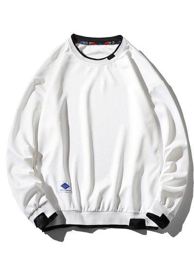 Letter Applique Drop Shoulder Faux Twinset Sweatshirt - White L