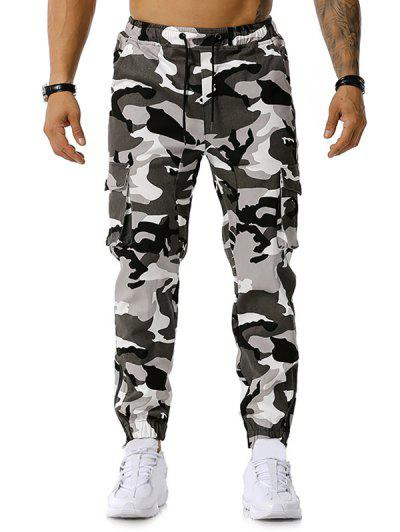Camo Print Multi-pocket Cargo Pencil Pants - Gray M