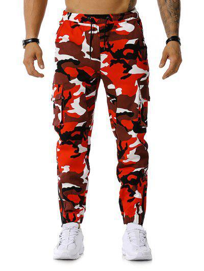 Camo Print Multi-pocket Cargo Pencil Pants - Red L