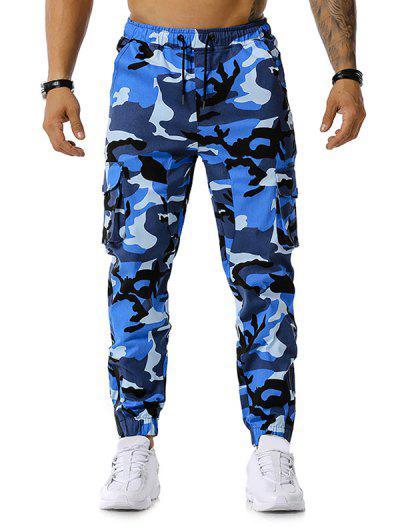 Camo Print Multi-pocket Cargo Pencil Pants - Blue M