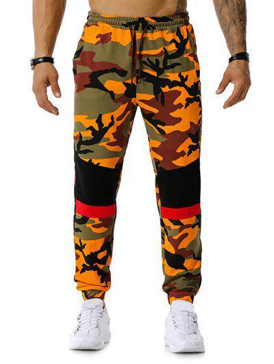 Colorblock Camo Print Drawstring Jogger Pants - Orange 2xl