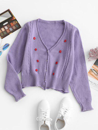 Floral Embellished Rolled Trim Cable Knit Cardigan - Purple Flower