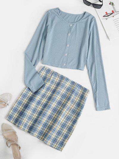 Crop Tee And Plaid Mini Skirt Set - Light Blue S