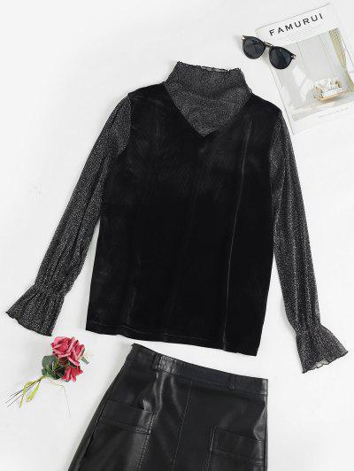 Flare Sleeves Velvet Mesh Panel T Shirt - Black M