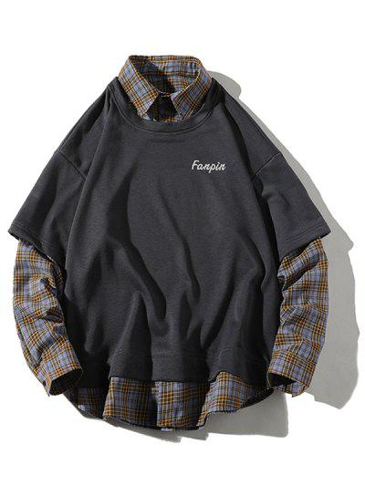 Drop Shoulder Plaid Panel 2 In 1 Sweatshirt - Battleship Gray 2xl