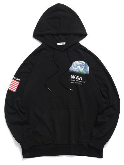 ZAFUL Letter Earth American Flag Print Front Pocket Hoodie - Black S