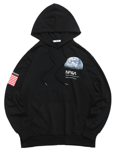 ZAFUL Letter Earth American Flag Print Front Pocket Hoodie