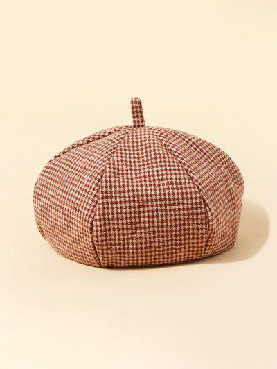 Retro Plaid Pattern Painter Beret - Chestnut Red