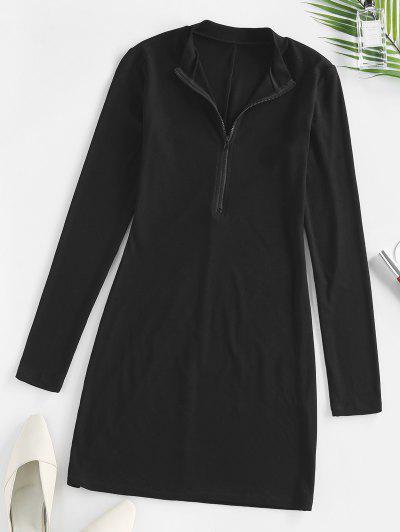 ZAFUL Ribbed Half Zip Bodycon Dress - Black S