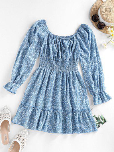 ZAFUL Printed Raglan Sleeve Smocked Mini Dress - Light Blue S