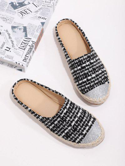Shiny Toe Tweed Espadrilles Half Flat Shoes - Black Eu 40