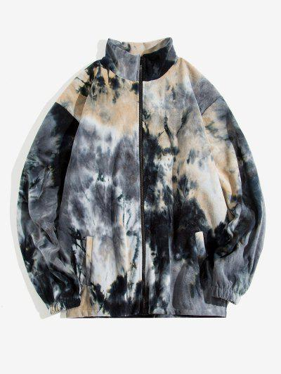 Tie Dye Pattern Zip Up Fleece Jacket - Black M