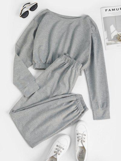 Boat Neck Cropped Sweat Two Piece Set - Dark Gray L