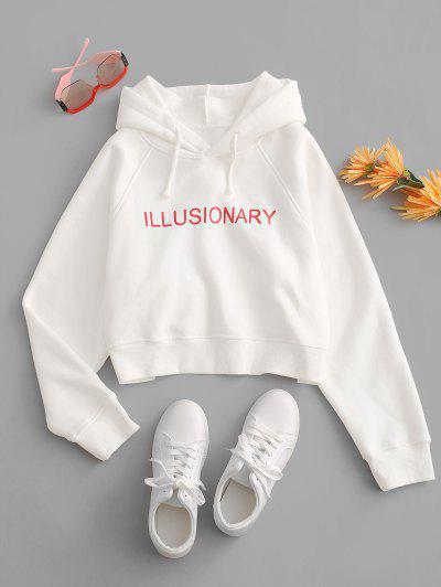 Graphic Fleece Lined Raglan Sleeve Pullover Hoodie - Milk White S