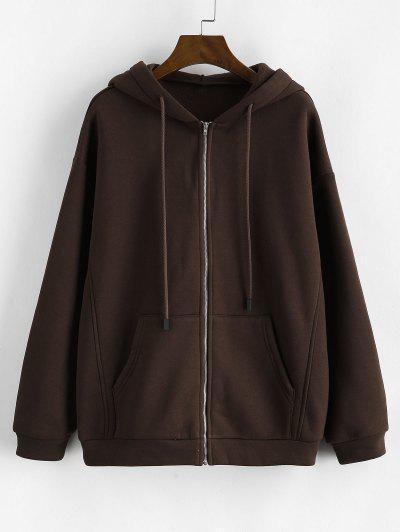 ZAFUL Pockets Zip Up Fleece Lined Hoodie - Deep Coffee L