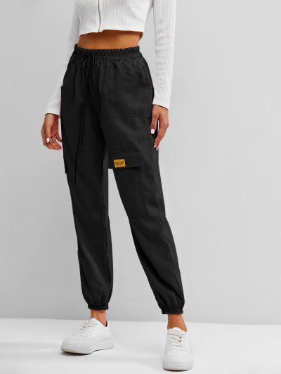 Letter Applique Bowknot Detail Cargo Pants - Black S