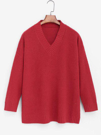 Drop Shoulder Tunic Sweater - Red