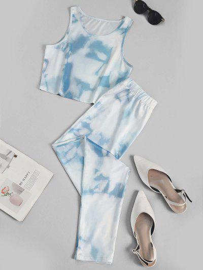 Blue Sky Crop Top And Pants Sports Suit - Light Blue M