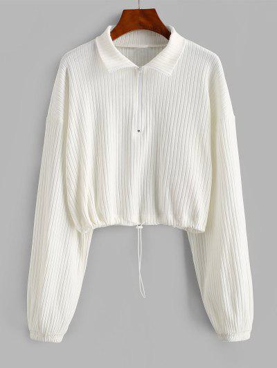 ZAFUL Toggle Drawstring Ribbed Half Zip Sweatshirt - White M