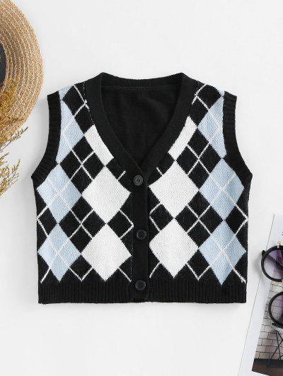 ZAFUL Argyle Button Up Sleeveless Cardigan - Black S