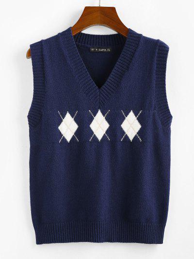 ZAFUL Argyle V Neck Sweater Vest - Deep Blue M