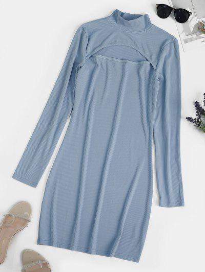 Ribbed Cut Out Long Sleeve Mini Dress - Baby Blue L