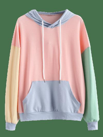 ZAFUL Drawstring Colorblock Kangaroo Pocket Hoodie