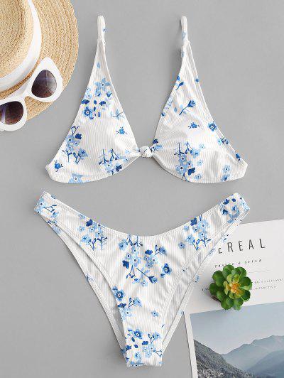 ZAFUL Flower Ribbed Knotted Brazilian Bikini Swimwear - White M