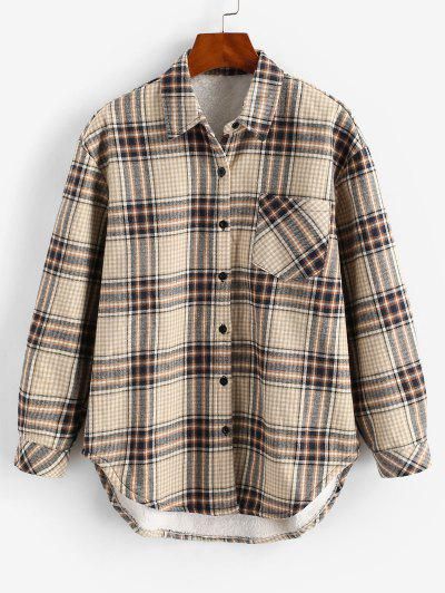 One Pocket Plaid Fluffy Lined Jacket - Coffee Xs
