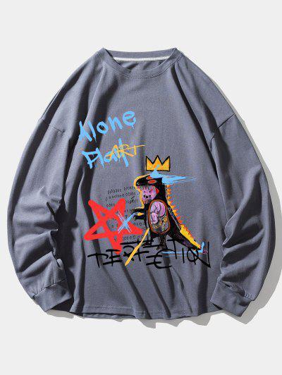 Sweat-shirtGraphiqueDinosaureCouronne - Jet Gris L
