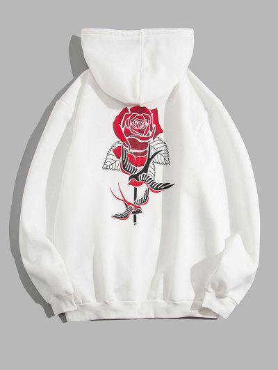 Vogel Rose Blumen Druck Vlies Hoodie - Weiß M