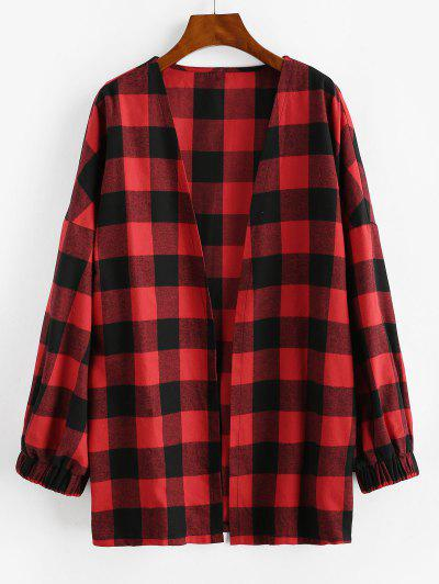 ZAFUL Long Open Front Plaid Coat - Lava Red S