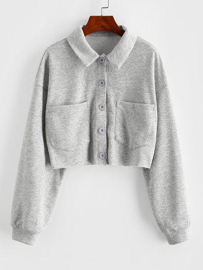 ZAFUL Button Up Raw Hem Cropped Sweatshirt - Platinum M