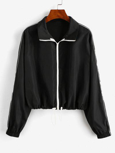 ZAFUL Toggle Drawstring Zip Up Windbreaker Jacket - Black L