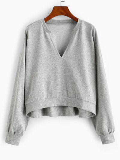 ZAFUL Drop Shoulder Marled V Neck Sweatshirt - Gray S