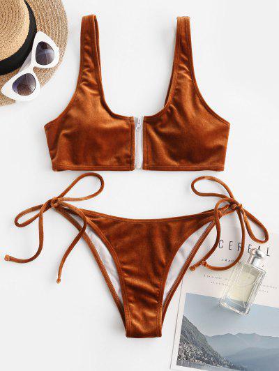 ZAFUL Front Zip Velvet Tie Side Tanga Bikini Swimwear - Coffee M
