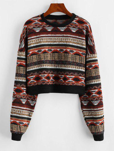 ZAFUL Drop Shoulder Crew Neck Tribal Graphic Sweater - Multi L