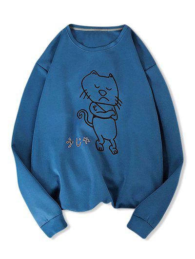 Angry Cartoon Cat Pattern Sweatshirt - Peacock Blue M