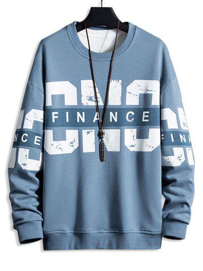Crew Neck Letter Print Pullover Sweatshirt - Marble Blue 3xl