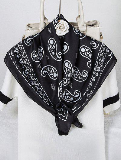 Paisley Printed Satin Square Scarf - Black