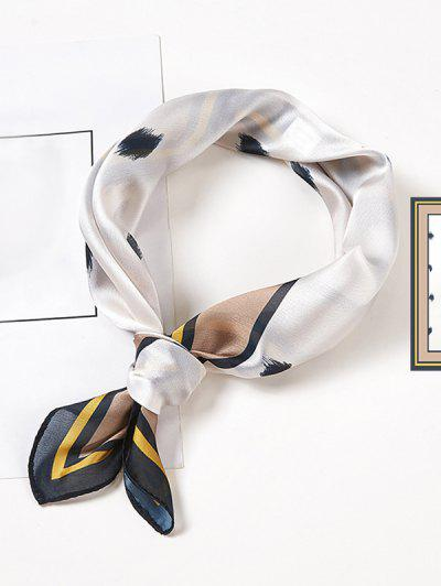 Foulard Carré Simple Imprimé En Satin - Blanc