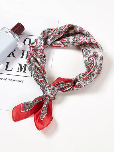 Paisley Colorblock Printed Satin Square Scarf - Red