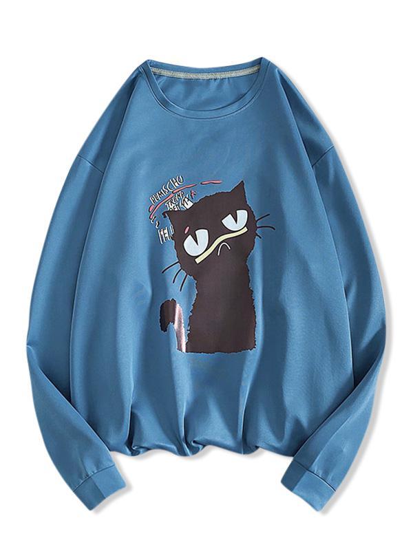 Zaful Letter Cat Print Sweatshirt
